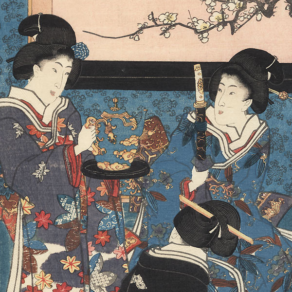 Practicing Flower Arrangement on New Year's Morning, 1847-1852 by Toyokuni III/Kunisada (1786 - 1864)