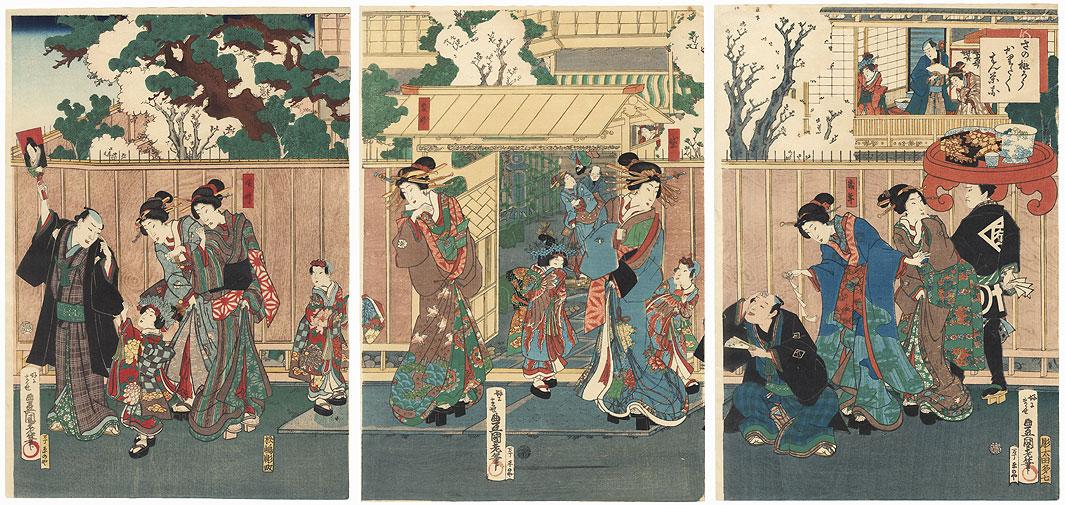 Courtesans outside a Teahouse by Toyokuni III/Kunisada (1786 - 1864)