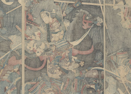 The Battle of Saeda Inuchiyo, 1862 by Kuniteru II (1829 - 1874)