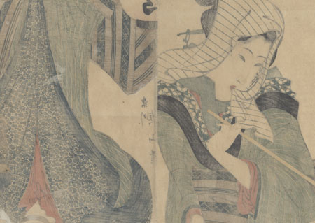 Beauty with a Lantern Kakemono by Eizan (1787 - 1867)