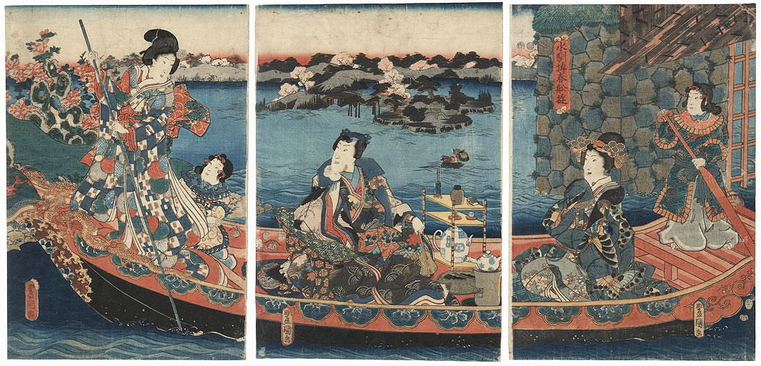Spring Boating Party on a Chinese-style Barge by Toyokuni III/Kunisada (1786 - 1864)