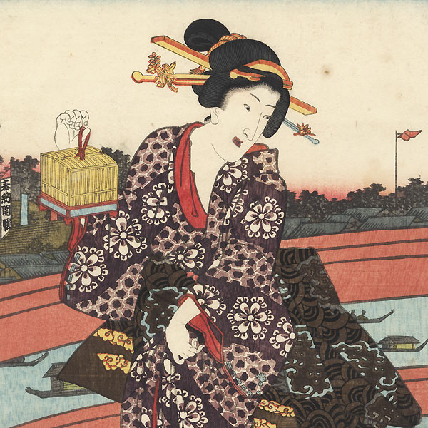 Evening at Ryogoku in the Eastern Capital, 1853 by Kunisada II (1823 - 1880)