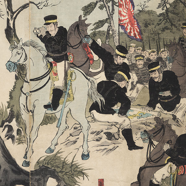 Surrender of the Castle at Pyongyang, a Great Victory for Our Soldiers, 1894 by Kokunimasa (1874 - 1944)
