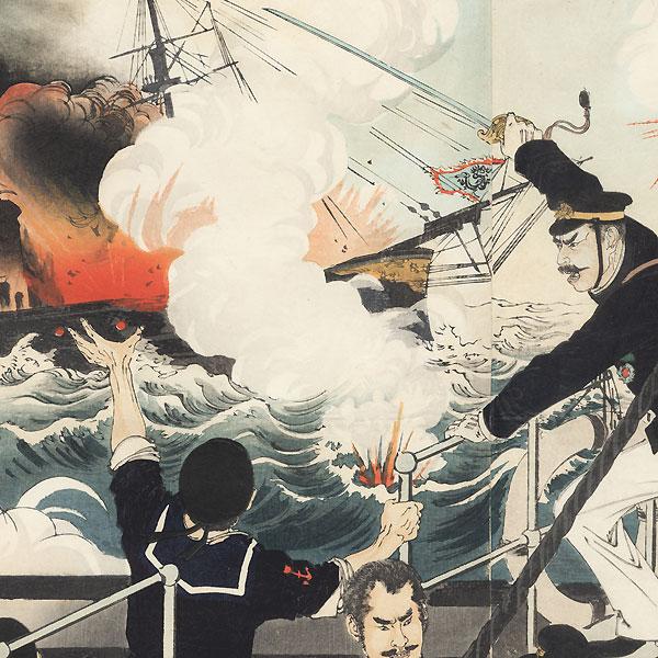 Lieutenant-Commander Sakamoto of the Imperial Warship Akagi Fights Bravely, 1894 by Toshikata (1866 - 1908)