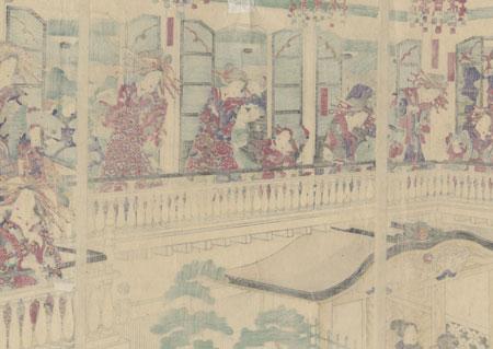 Courtesans of the Kimpei-ro, 1869 by Yoshitora (active circa 1840 - 1880)