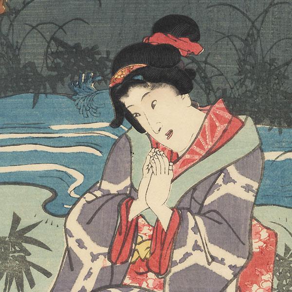 The Beauty Ohana Praying, 1856 by Toyokuni III/Kunisada (1786 - 1864)