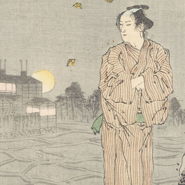 Man on an Autumn Night Kuchi-e Print by Meiji era artist (unsigned)