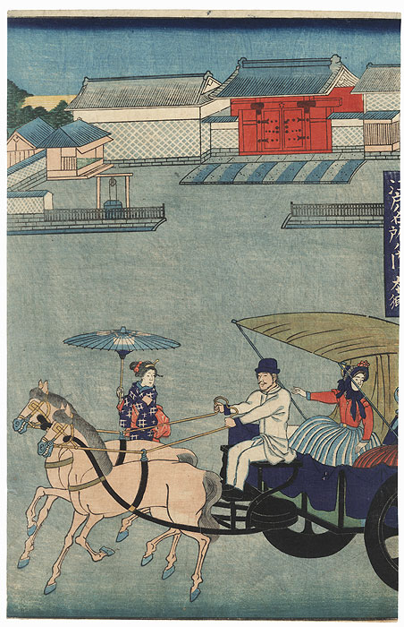 Foreigners Riding in a Carriage by Meiji era artist (unsigned)