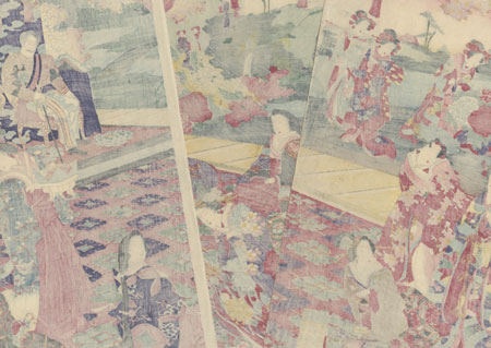 Imperial Viewing of the Garden of the Temporary Palace, 1878 by Chikanobu (1838 - 1912)