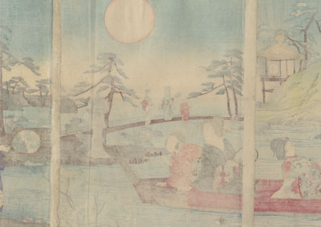 Moon Viewing in a Garden by Nobukazu (1874 - 1944)