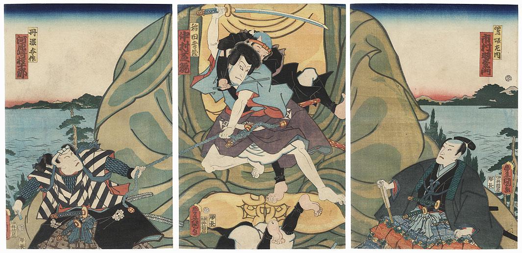 Fight on a Buddhist Statue, 1861 by Toyokuni III/Kunisada (1786 - 1864)