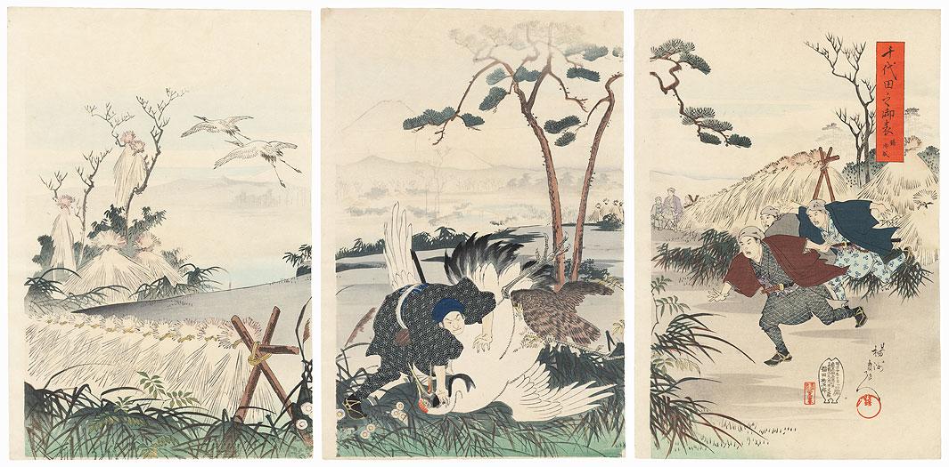 Crane Hunt, 1897 by Chikanobu (1838 - 1912)
