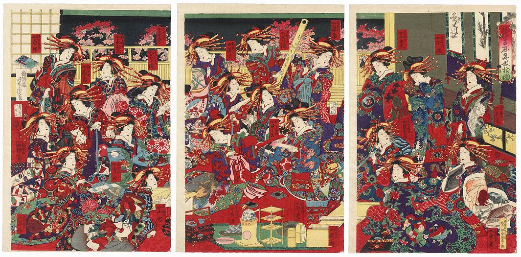 Courtesans Composing Poems by Yoshitora (active circa 1840 - 1880)