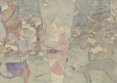 View of the Brave Fight by the Women's Squad of Rebels, 1877 by Yoshitoshi (1839 - 1892)