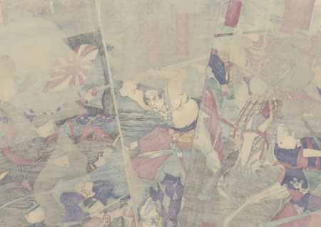 Fighting at Kagoshima, 1877 by Chikanobu (1838 - 1912)