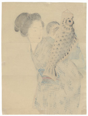 Mother and Son with Carp Streamer Kuchi-e Print by Takeuchi Keishu (1847 - 1915)
