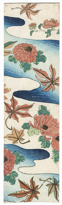Woodblock Print Envelope with Chrysanthemums and Leaves by Meiji era artist (unsigned)