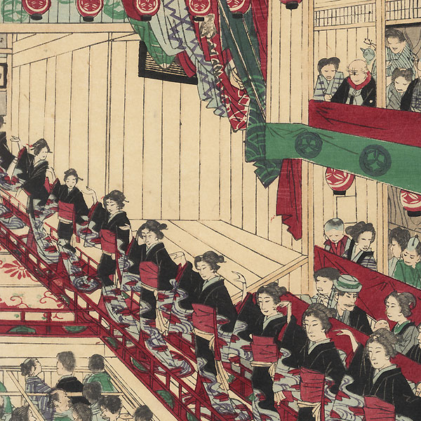 Famous Geisha Dance at the Shintomiza, 1883 by Kuniume (1866 - 1903)