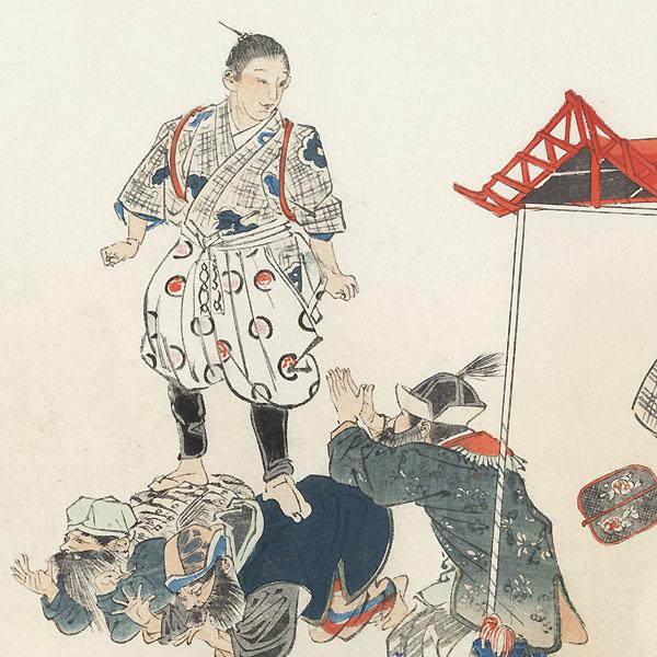 Tozumo (Chinese Sumo Wrestling) by Tsukioka Kogyo (1869 - 1927)