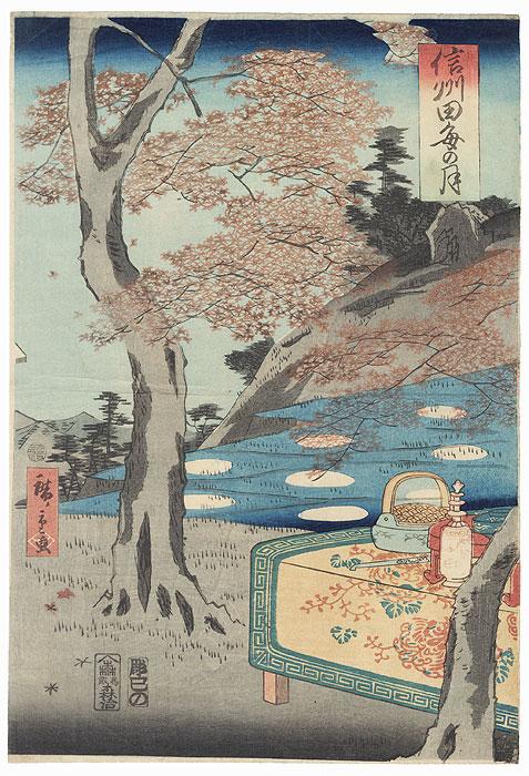 Moon Viewing at Shinshu, 1861 by Hiroshige II (1826 - 1869)