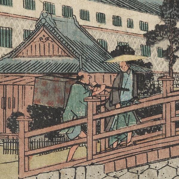 Akabane Bridge and Suiten Shrine in Shiba, circa mid-1840s by Hiroshige (1797 - 1858)