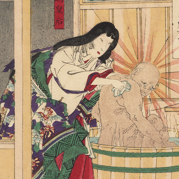 Courtesan Arranging Flowers; Empress Komyo Washing the Buddha Disguised as a Beggar by Kunichika (1835 - 1900)