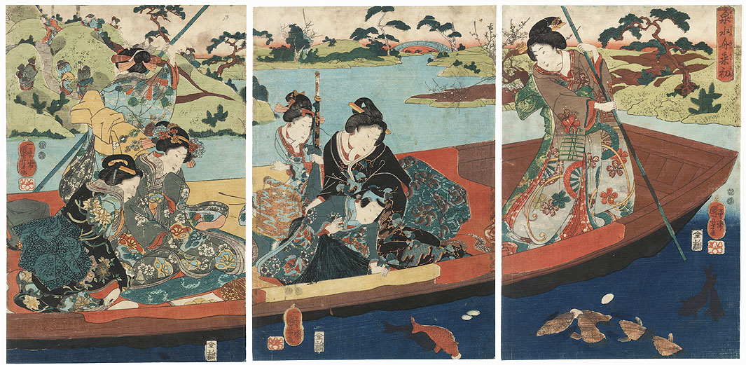 The First Time on a Boat in a Miniature Lake, 1847 - 1848 by Kuniyoshi (1797 - 1861)