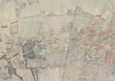 Kajiwara Kagetoki Joins Minamoto no Yoritomo to Attack the Taira, 1847 - 1852 by Yoshikazu (active circa 1850 - 1870)