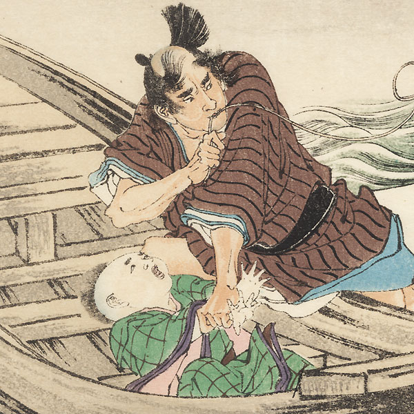 Abducting a Child Kuchi-e Print by Meiji era artist (unsigned)