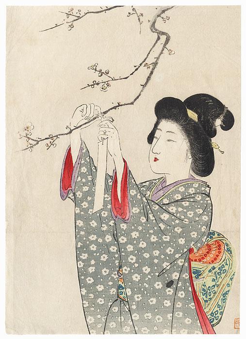 Hanging a Poem Slip Kuchi-e Print, 1910 by Suzuki Kason (1860 - 1919)