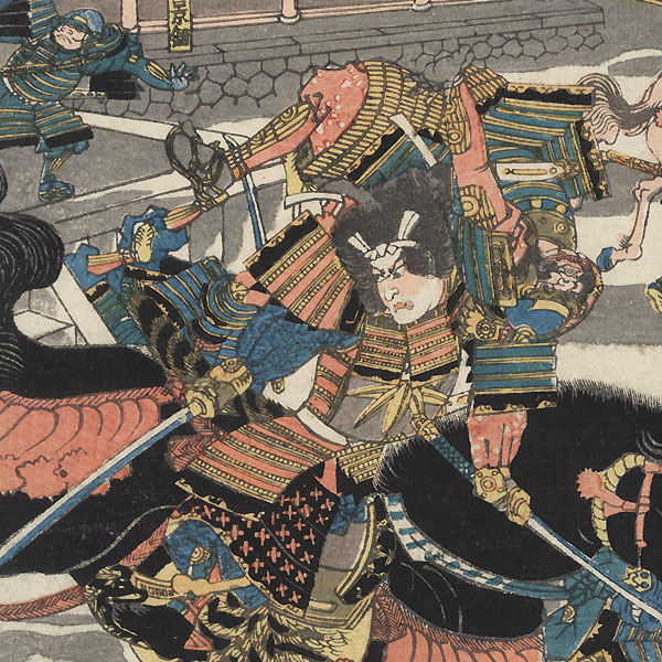 Battle of the Southeast Gate of the Palace in the Tales of the Hogen and Heiji Wars by Yoshitora (active circa 1840 - 1880)