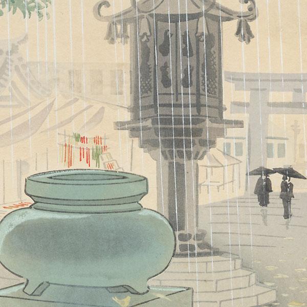 Autumn Rain at Shitennoji, 1936 by Tokuriki (1902 - 1999)