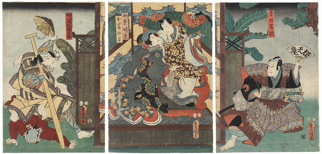 Couple and Eavesdroppers, 1857 by Toyokuni III/Kunisada (1786 - 1864)