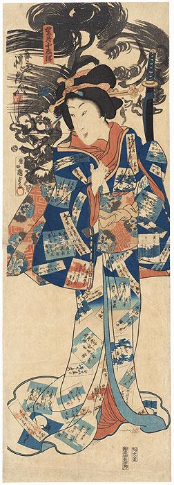 Beauty in a Poem Slip Kakemono, 1867 by Kunisada II (1823 - 1880) and Kyosai (1831 - 1889)