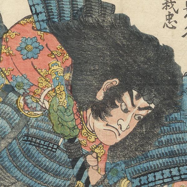 Warriors Grappling, 1856 by Yoshitsuya (1822 - 1866)