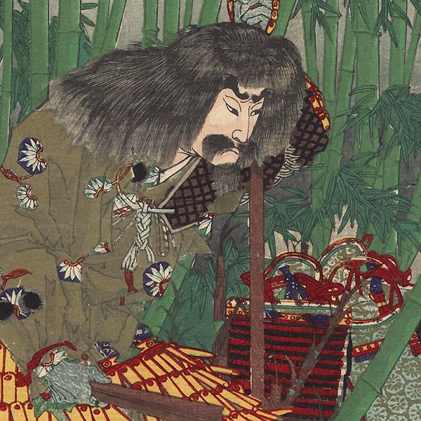 Akechi Mitsuhide at Ogurisu, 1883 by Toyonobu (1859 - 1886)