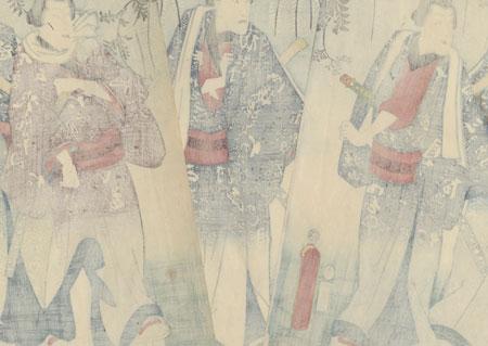 Five Chivalrous Men under Blossoming Wisteria, 1854 by Toyokuni III/Kunisada (1786 - 1864)