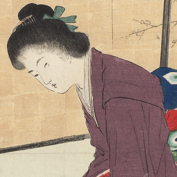 First Sound of the New Year Kuchi-e Print, 1905 by Takeuchi Keishu (1847 - 1915)