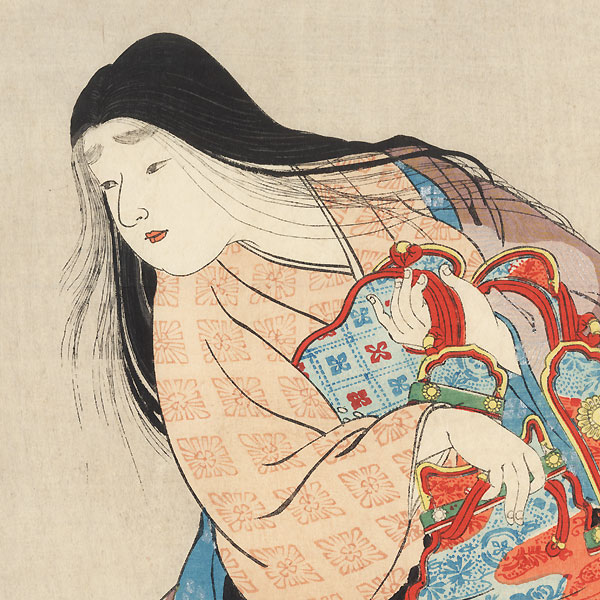 Heian Era Beauty with Armor Kuchi-e Print by Kobori Tomoto (1864 - 1931)