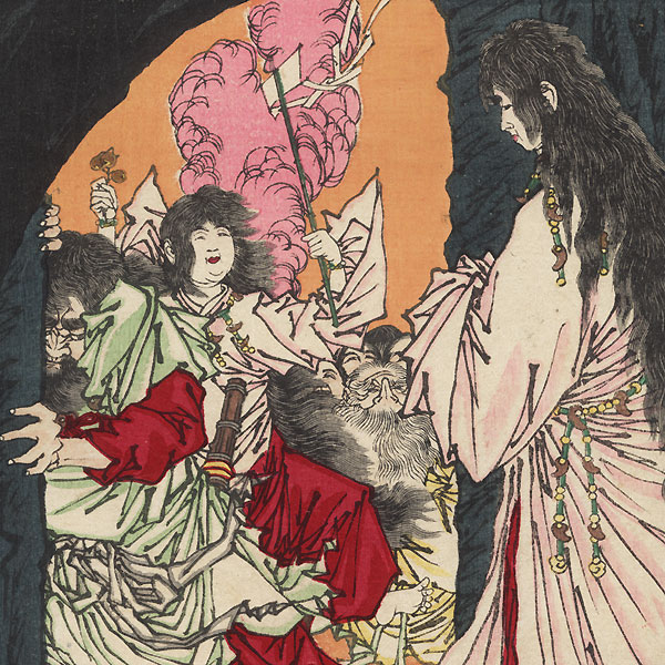 Amaterasu Omikami Reappearing from the Cave, 1882 by Yoshitoshi (1839 - 1892)