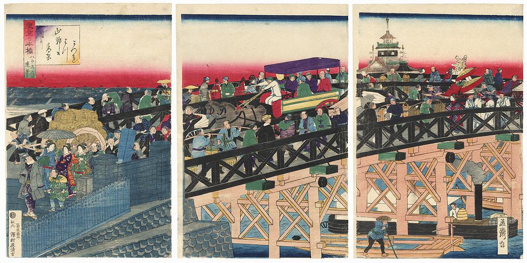 Nihon Bridge in Tokyo by Yoshitora (active circa 1840 - 1880)