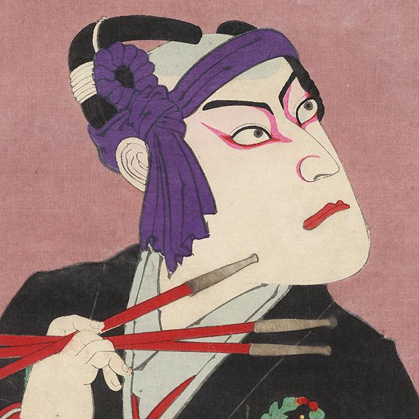 Ichikawa Danjuro IX as Hanakawado Sukeroku by Kunichika (1835 - 1900)