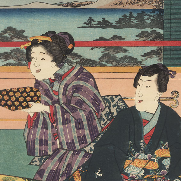Autumn Moon-viewing Scene from Inaka Genji, 1847 - 1852 by Toyokuni III/Kunisada (1786 - 1864)