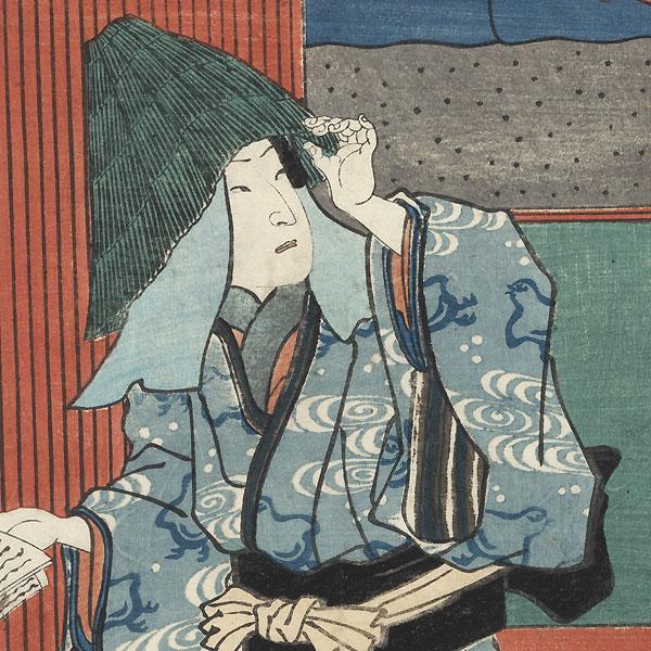 Sawamura Tossho II as Shirokiya Sajiro, 1858 by Toyokuni III/Kunisada (1786 - 1864)