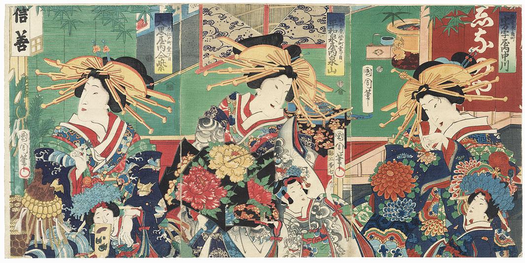 The New Yoshiwara at Sumicho by Kunichika (1835 - 1900)