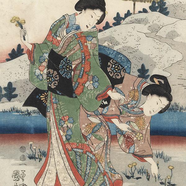 Gathering Plants in the Palace Garden, 1847 - 1852 by Kuniyoshi (1797 - 1861)
