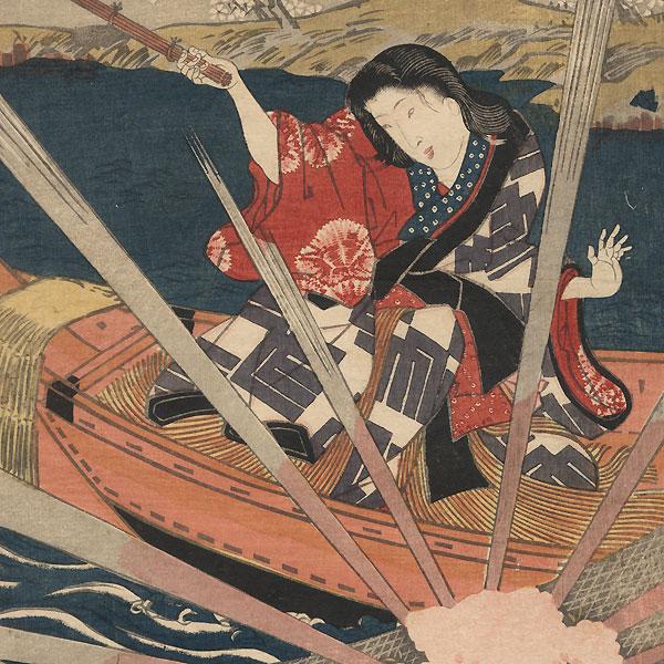 The Origin of the Sansha on the Miyako River, circa 1843 - 1847 by Toyokuni III/Kunisada (1786 - 1864)