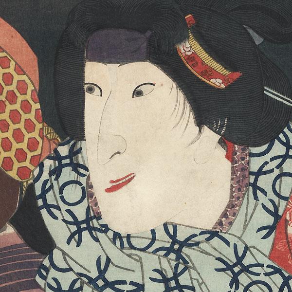 Iwai Shijaku I as Shakuchachi's Wife Hitoyo, 1852 by Kunisada II (1823 - 1880)