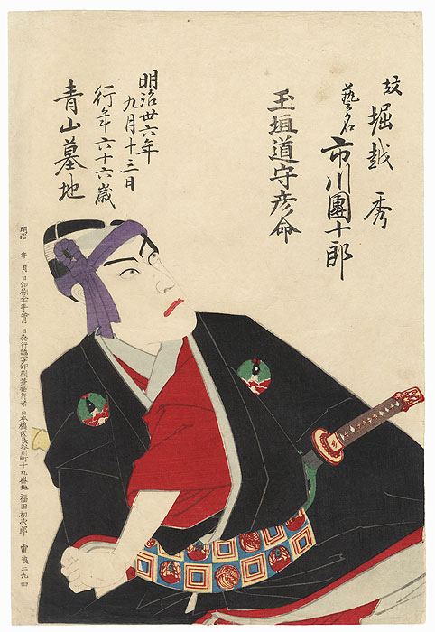 Ichikawa Danjuro as Hanakawado Sukeroku by Meiji era artist (unsigned)