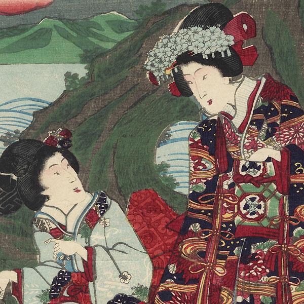 Visiting Chigogafuchi in Enoshima, 1856 by Yoshitora (active circa 1840 - 1880)